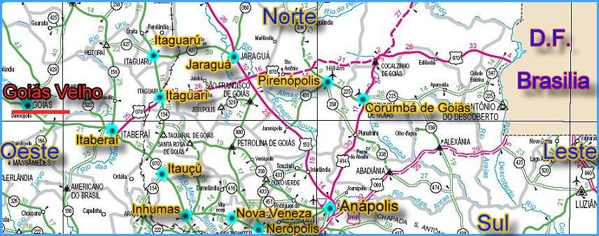 Mapa de Brasilia a Cidade de Gois Velho  Como chegar em Gois